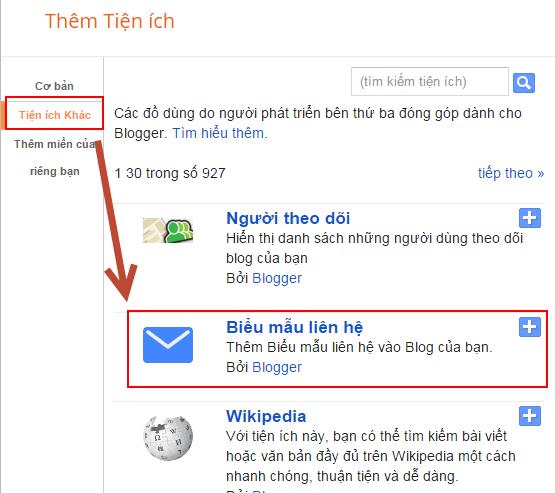Cách tạo trang liên hệ cho blogspot